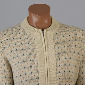 Large Mens 1950s Sweater Cream Blue Fair Isle Pattern Metal Zip Front Cardigan Long Sleeve - Fashionconstellate.com