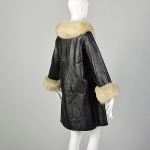 Medium 1960s Black Leather Coat Fox Fur Trim Winter Outerwear - Fashionconstellate.com