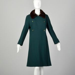 Medium 1960s Green Coat Double Breasted with Mink Fur Collar