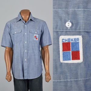 XL 1960s Mens Chambray Uniform Shirt Short Sleeve Patch Pockets Patch Blue Gas Station Button Up