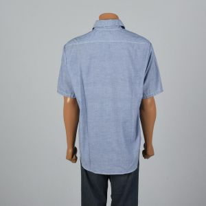 XL 1960s Mens Chambray Uniform Shirt Short Sleeve Patch Pockets Patch Blue Gas Station Button Up - Fashionconstellate.com