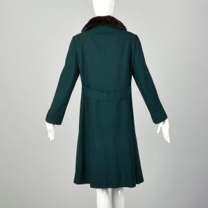 Medium 1960s Green Coat Double Breasted with Mink Fur Collar - Fashionconstellate.com