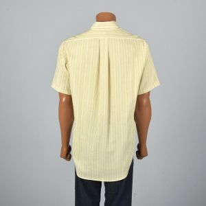 XL 1950s MensShirt  Short Sleeve Yellow White Striped Patch Pocket Round Bottom Collared Button Down - Fashionconstellate.com