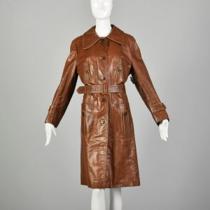 Large 1970s Brown Leather Trench Coat with Vented Back and Wide Collar