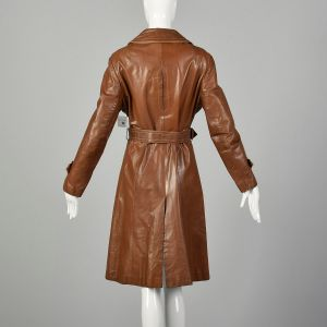 Large 1970s Brown Leather Trench Coat with Vented Back and Wide Collar - Fashionconstellate.com