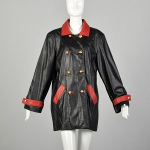 XL 1980s Military Inspired Black Leather Jacket Double Breasted with Red Trim Autumn Outerwear