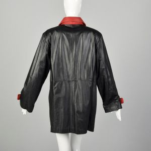 XL 1980s Military Inspired Black Leather Jacket Double Breasted with Red Trim Autumn Outerwear  - Fashionconstellate.com