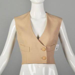 Small 1980s Numbered Christian Dior Boutique Minimalist Tan Wool Vest