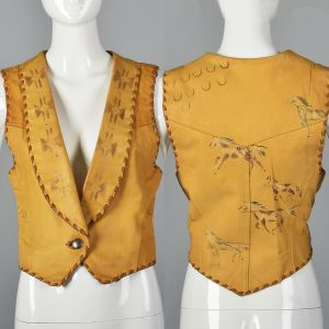 XS 1990s North Beach Leather Leather Vest Southwest Novelty Horse Print Stitched Trim