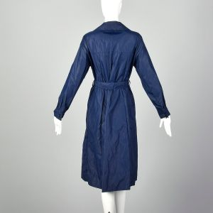 Large Blue Raincoat 1970s Navy Belted Trench Coat Lightweight Nylon Rain Jacket - Fashionconstellate.com