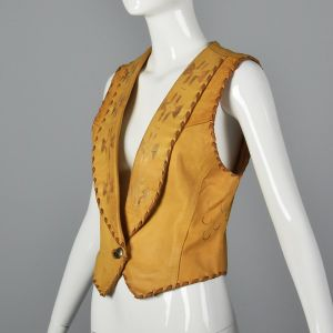 XS 1990s North Beach Leather Leather Vest Southwest Novelty Horse Print Stitched Trim - Fashionconstellate.com