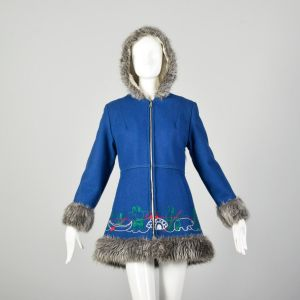 Small 1960s Mod Blue Novelty Coat Faux Fur with Inuit Embroidery Winter Outerwear