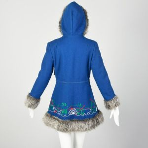 Small 1960s Mod Blue Novelty Coat Faux Fur with Inuit Embroidery Winter Outerwear - Fashionconstellate.com