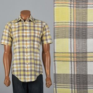 Large 1970s Mens Distressed Plaid Shirt Short Sleeve Patch Pocket Collared Yellow Gray Button Down