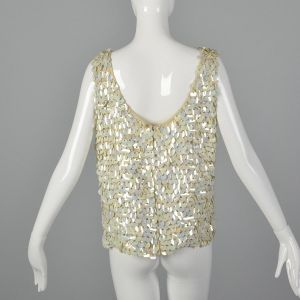 Large 1960s Sleeveless Knit Sweater with Paillettes Vintage Knit Blouse Sequin Tank  - Fashionconstellate.com