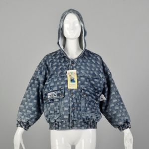 Small 1980s Denim Bomber Jacket Hooded with Snap Front