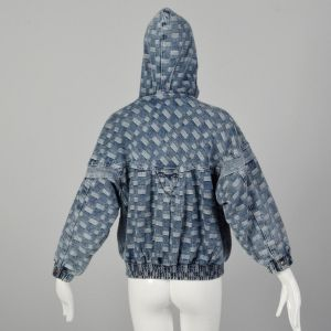 Small 1980s Denim Bomber Jacket Hooded with Snap Front - Fashionconstellate.com