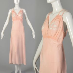 Large 1930s Pink Rayon Nightgown Novelty Boudoir Adam & Eve Fig Leaf Fetish Lingerie