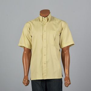 Large 1980s Mens Gold Button Down Shirt Short Sleeve Cuffs Pocket Pleat Square Bottom Button Up