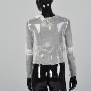 XS Cathryn Avison Deadstock Embroidered Floral Cardigan Sheer Long Sleeve Top - Fashionconstellate.com