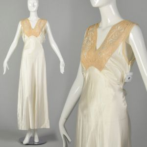 Small 1930s Bridal Nightgown Lace Tie Back Waist Satin Lingerie