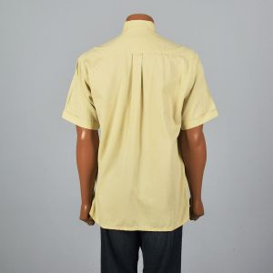 Large 1980s Mens Gold Button Down Shirt Short Sleeve Cuffs Pocket Pleat Square Bottom Button Up - Fashionconstellate.com