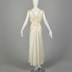 Small 1930s Bridal Nightgown Lace Tie Back Waist Satin Lingerie  - Fashionconstellate.com