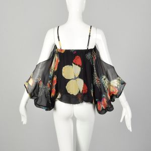 XXS Alberto Makali Silk Cold Shoulder Top with Butterfly Print - Fashionconstellate.com