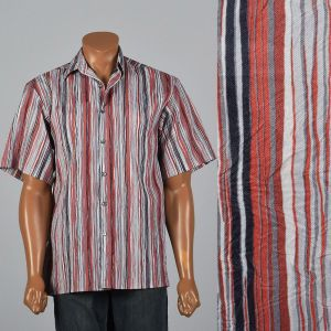 Medium 1980s Mens Crinkle Texture Stripe Shirt Short Sleeve Square Cut Red Black Button Down