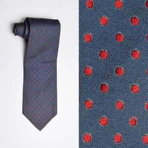 1970s Blue Silk Necktie Red Swiss Dot Wide Neck Tie