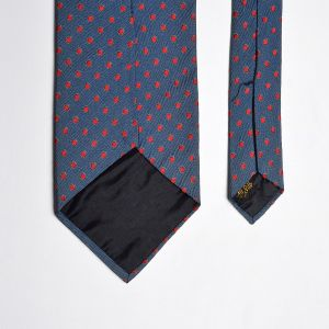 1970s Blue Silk Necktie Red Swiss Dot Wide Neck Tie  - Fashionconstellate.com