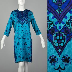 Large Blue Dress 1970s Floral Printed Bohemian Teal Classic Shift Dress
