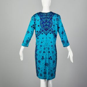 Large Blue Dress 1970s Floral Printed Bohemian Teal Classic Shift Dress - Fashionconstellate.com