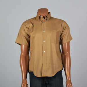 XL 1960s Mens Tan Shirt Short Sleeve Button Down Collar Patch Pocket Lightweight Back Pleat