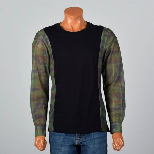 Medium 2000s Mens Shirt Black and Camo Sheer Mesh Long Sleeve Cotton Knit Tee