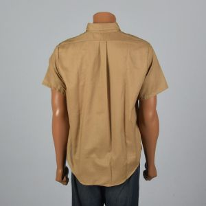XL 1960s Mens Tan Shirt Short Sleeve Button Down Collar Patch Pocket Lightweight Back Pleat - Fashionconstellate.com