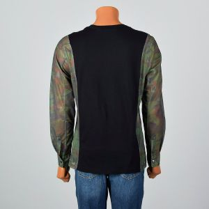 Medium 2000s Mens Shirt Black and Camo Sheer Mesh Long Sleeve Cotton Knit Tee  - Fashionconstellate.com