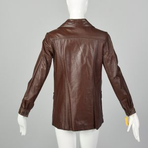 XS Brown Leather Jacket 1970s Deadstock Button Up Patch Pocket Bohemian Jacket - Fashionconstellate.com