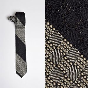 1950s Saks Fifth Avenue Black Woven Silk Necktie Skinny White Neck Tie