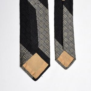 1950s Saks Fifth Avenue Black Woven Silk Necktie Skinny White Neck Tie - Fashionconstellate.com