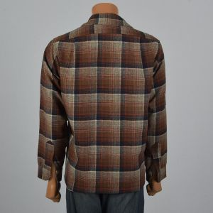 XL 1960s Mens Pendleton Wool Plaid Shirt Long Sleeve Square Cut Patch Pockets Brown Red Button Down - Fashionconstellate.com