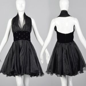 Medium 1980s Sexy Halter Dress Black Sheer Circle Skirt