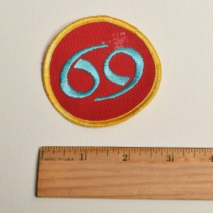 1970s Number 69 Sew on Patch Biker Motorcycle Applique  - Fashionconstellate.com