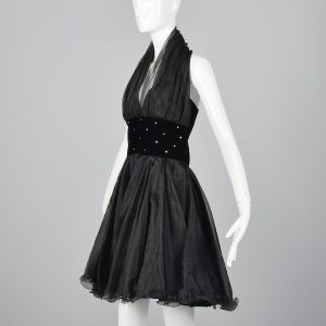 Medium 1980s Sexy Halter Dress Black Sheer Circle Skirt - Fashionconstellate.com
