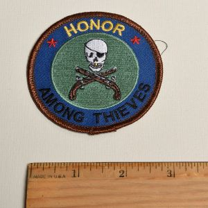 1980s Honor Among Thieves Sew On Patch Skull and Crossed Guns Applique - Fashionconstellate.com