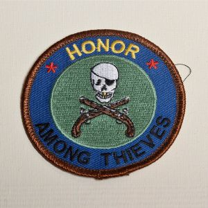 1980s Honor Among Thieves Sew On Patch Skull and Crossed Guns Applique