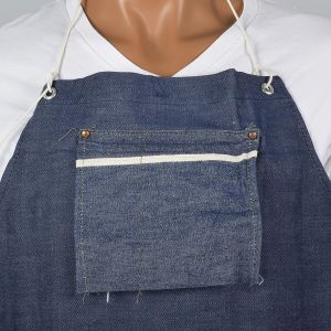 1950s Selvedge Denim Apron Deadstock Heavy Duty Cotton Workwear Smock Industrial - Fashionconstellate.com