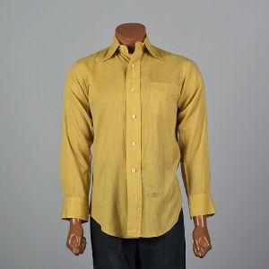 XXL 1960s Mens Long Sleeve Button Up Shirt Yellow Patch Pocket Button Cuffs Rounded Bottom