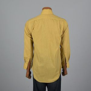 XXL 1960s Mens Long Sleeve Button Up Shirt Yellow Patch Pocket Button Cuffs Rounded Bottom - Fashionconstellate.com