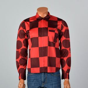 Medium 2000s Mens Shirt Red And Burgundy Checker Novelty Apple Print Silky Long Sleeve Button Down